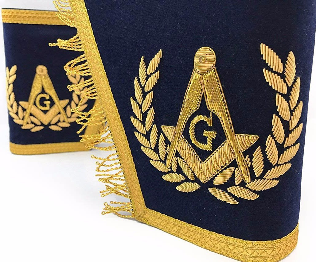 Masonic Gauntlets Cuffs - Embroidered With Fringe - Navy Blue - Bricks Masons