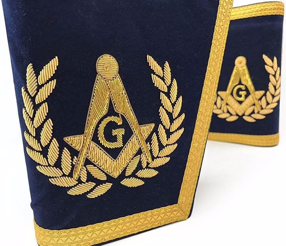 Masonic Gauntlets Cuffs - Embroidered - Navy Blue - Bricks Masons