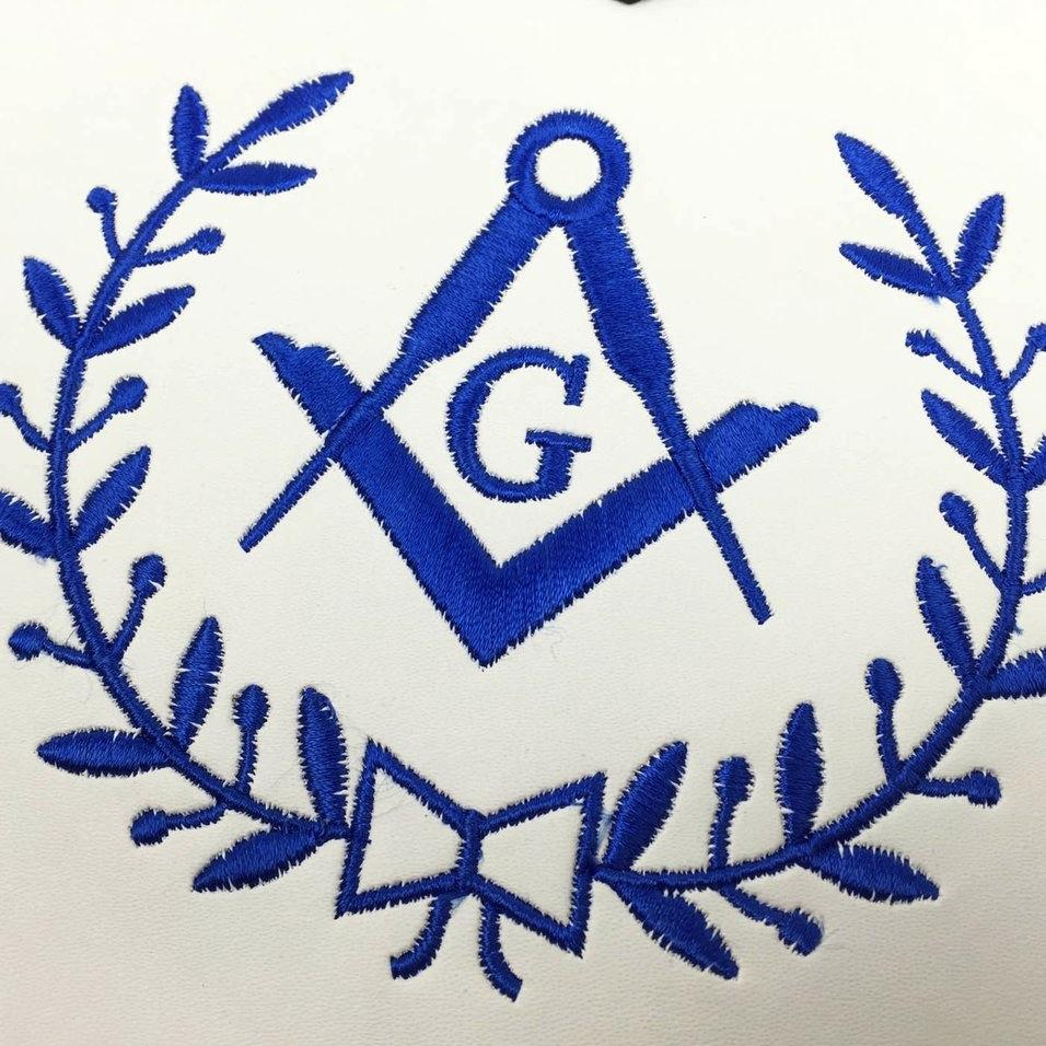 Masonic Blue Lodge Master Mason Apron Machine Embroidery Blue - Bricks Masons