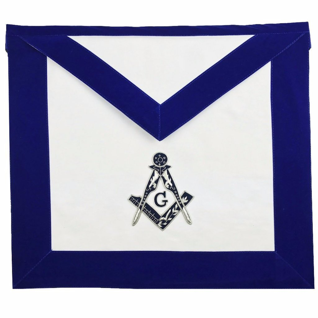Masonic MASTER MASON Hand Embroided Apron with square compass with G Velvet - Bricks Masons