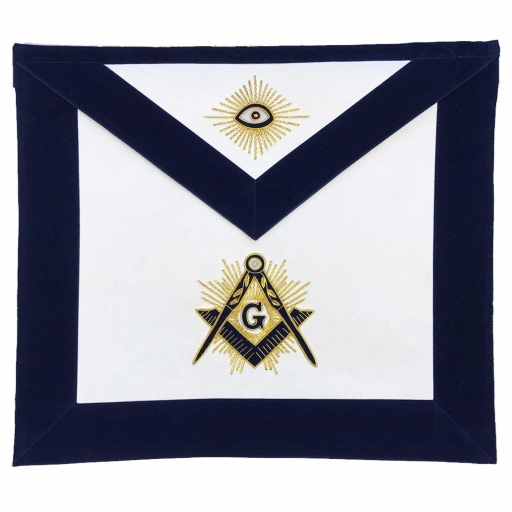 Masonic MASTER MASON Hand Embroided Apron with square compass with G Navy - Bricks Masons