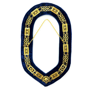 Grand Lodge - Chain Collar - Gold/Silver on Blue + Free Case - Bricks Masons