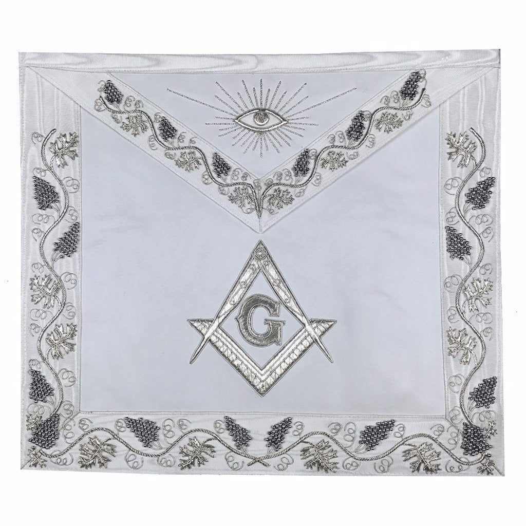 MASTER MASON Grand White Hand Embroided Apron with Square Compass G - Bricks Masons