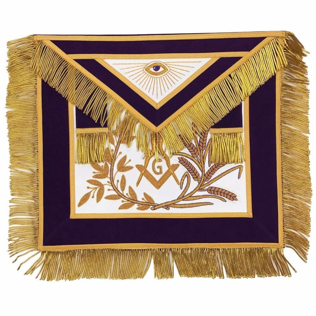 MASTER MASON Gold Embroidered Apron square compass with G Purple - Bricks Masons