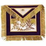 MASTER MASON Gold Embroided Apron square compass with G Purple - Bricks Masons