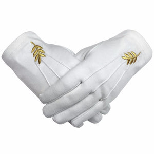Masonic Acacia Leaf Machine Embroidery White Cotton Gloves - Bricks Masons