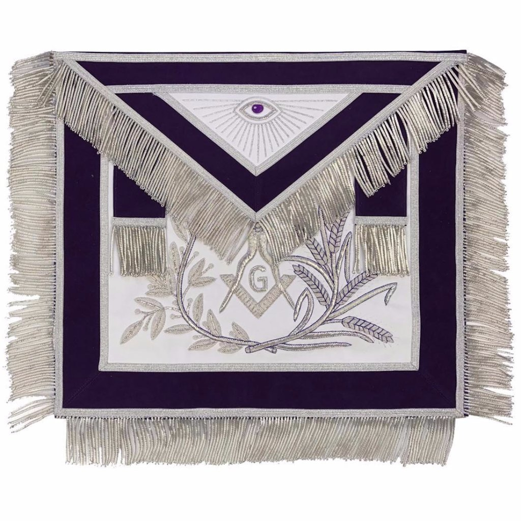 MASTER MASON Silver Embroided Apron square compass with G Purple - Bricks Masons