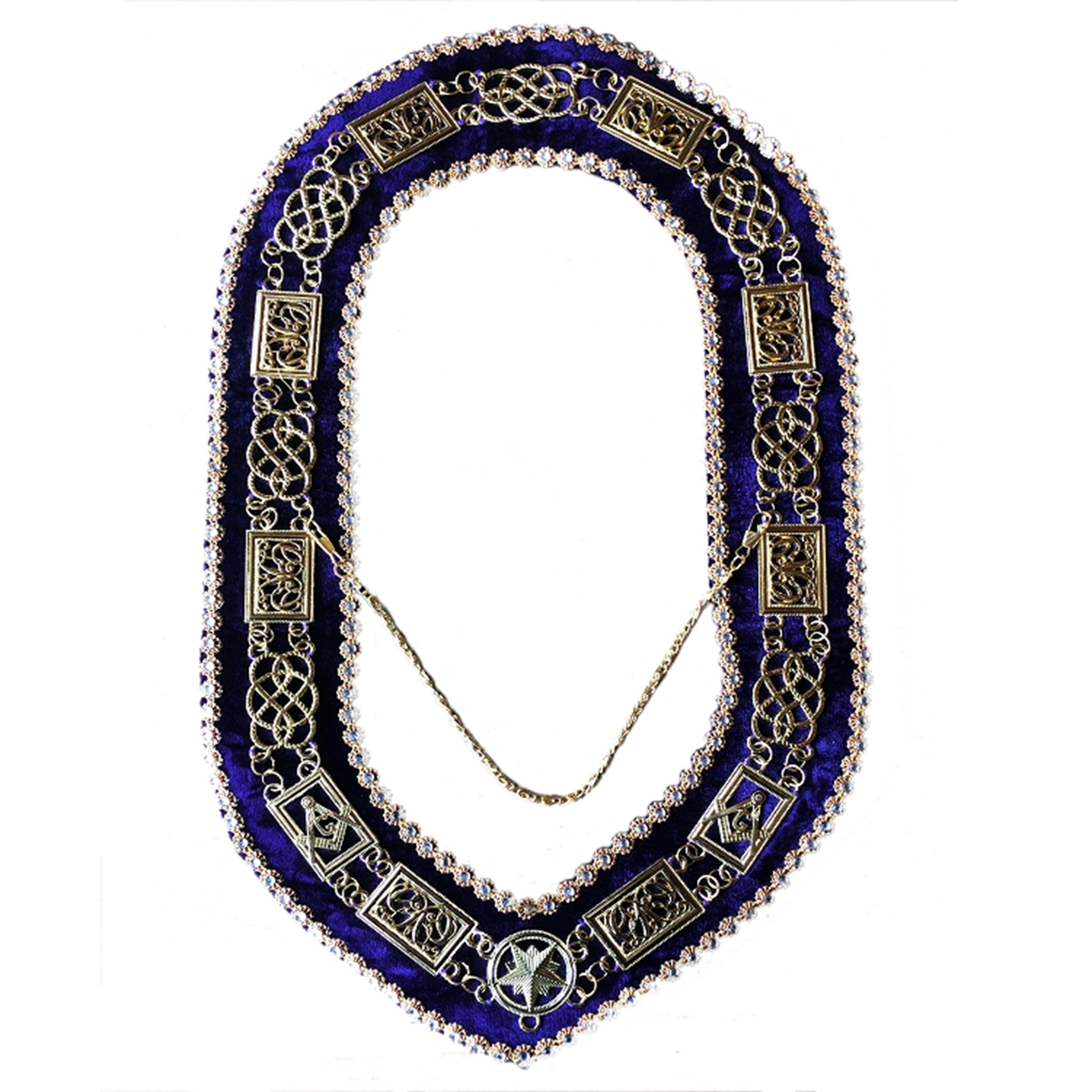 Grand Lodge - Chain Collar with Rhinestones - Gold/Silver on Purple Velvet - Bricks Masons