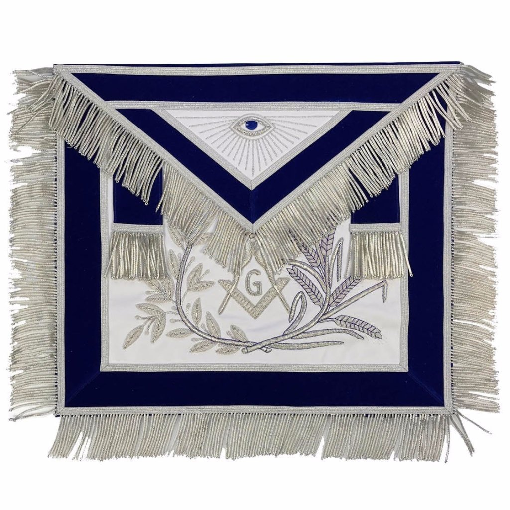 MASTER MASON Silver Embroided Apron square compass with G Blue - Bricks Masons
