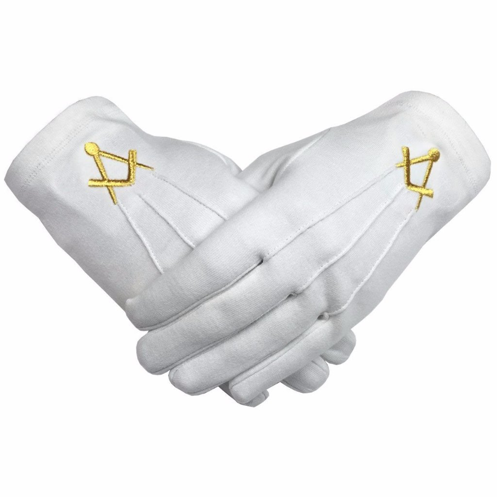 Masonic Cotton Glove with Golden Embroidery Square and Compass - Bricks Masons