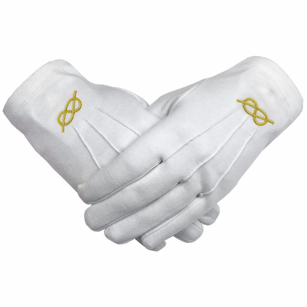 Masonic Gold knot Machine Embroidery White Cotton Gloves