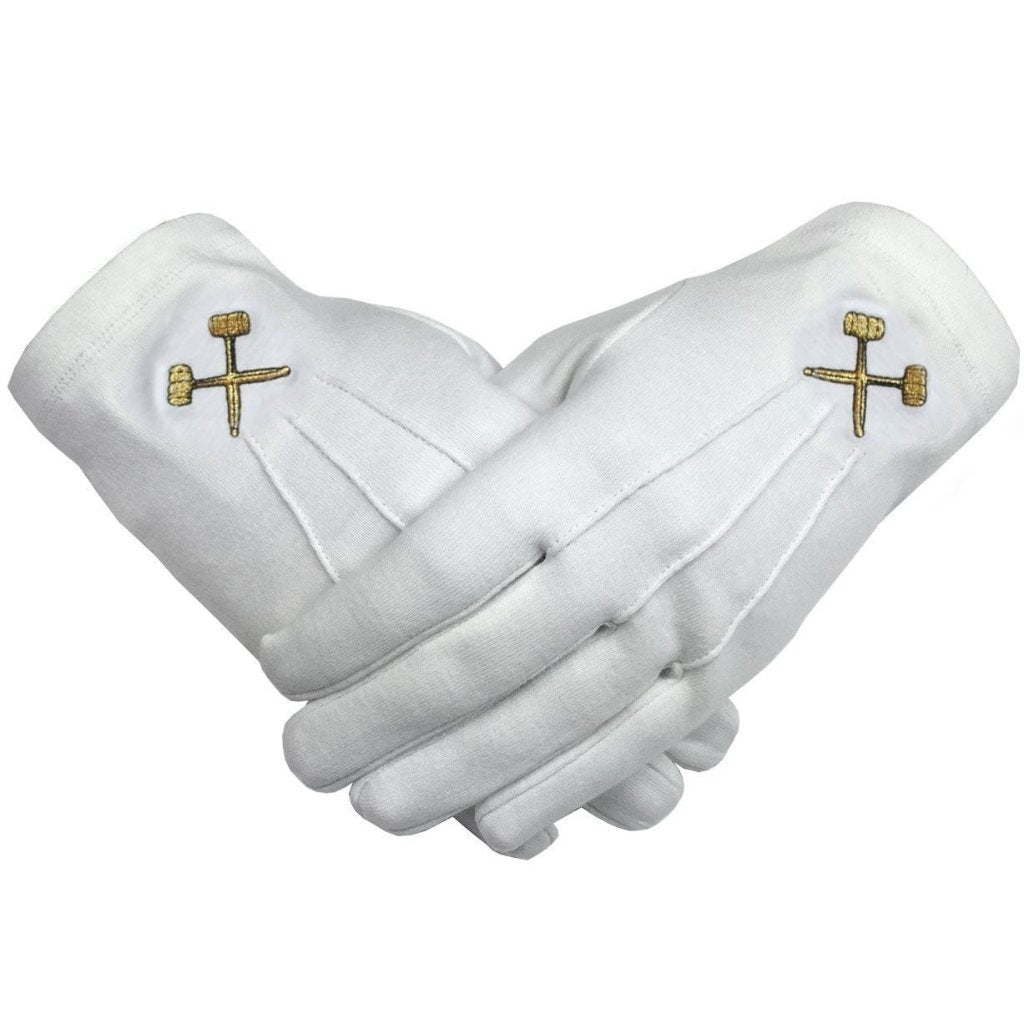 Masonic Crossed Trowels Machine Embroidery White Cotton Gloves