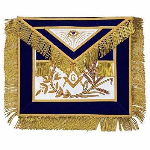 MASTER MASON Gold Embroided Apron square compass with G Blue - Bricks Masons