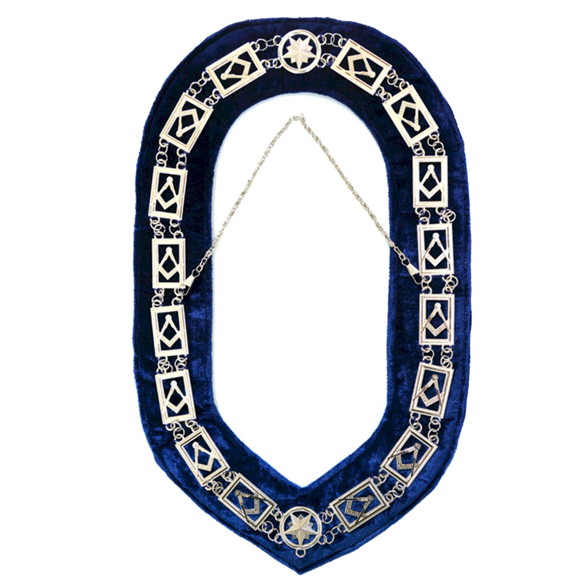 Blue Lodge Square Compass Chain Collar - Gold/Silver on Blue + Free Case - Bricks Masons