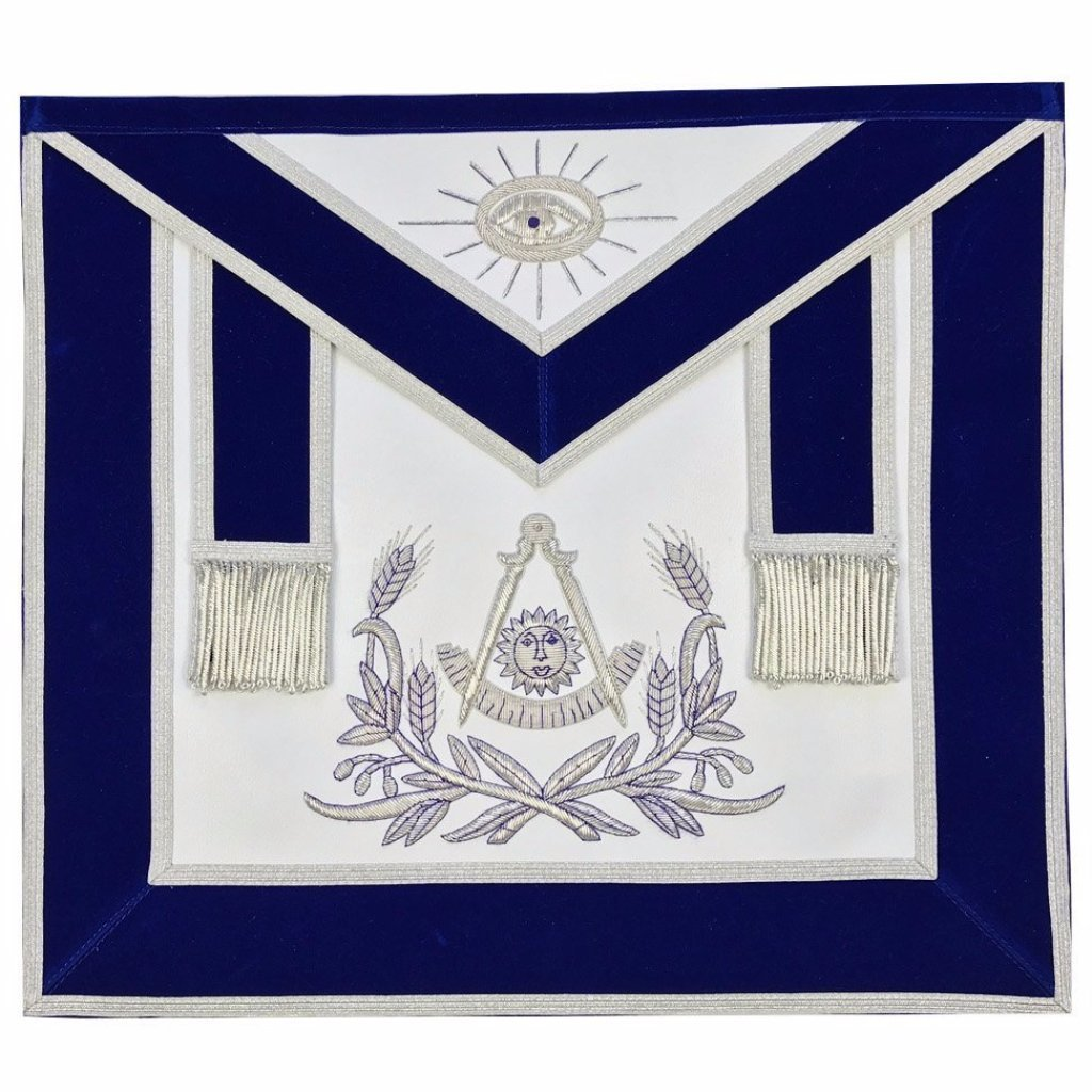 Masonic Past Master Hand Embroidered Apron Silver Embroidery Blue Velvet - Bricks Masons
