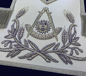 Masonic Past Master Hand Embroided Apron Silver Embroidery Blue Velvet - Bricks Masons