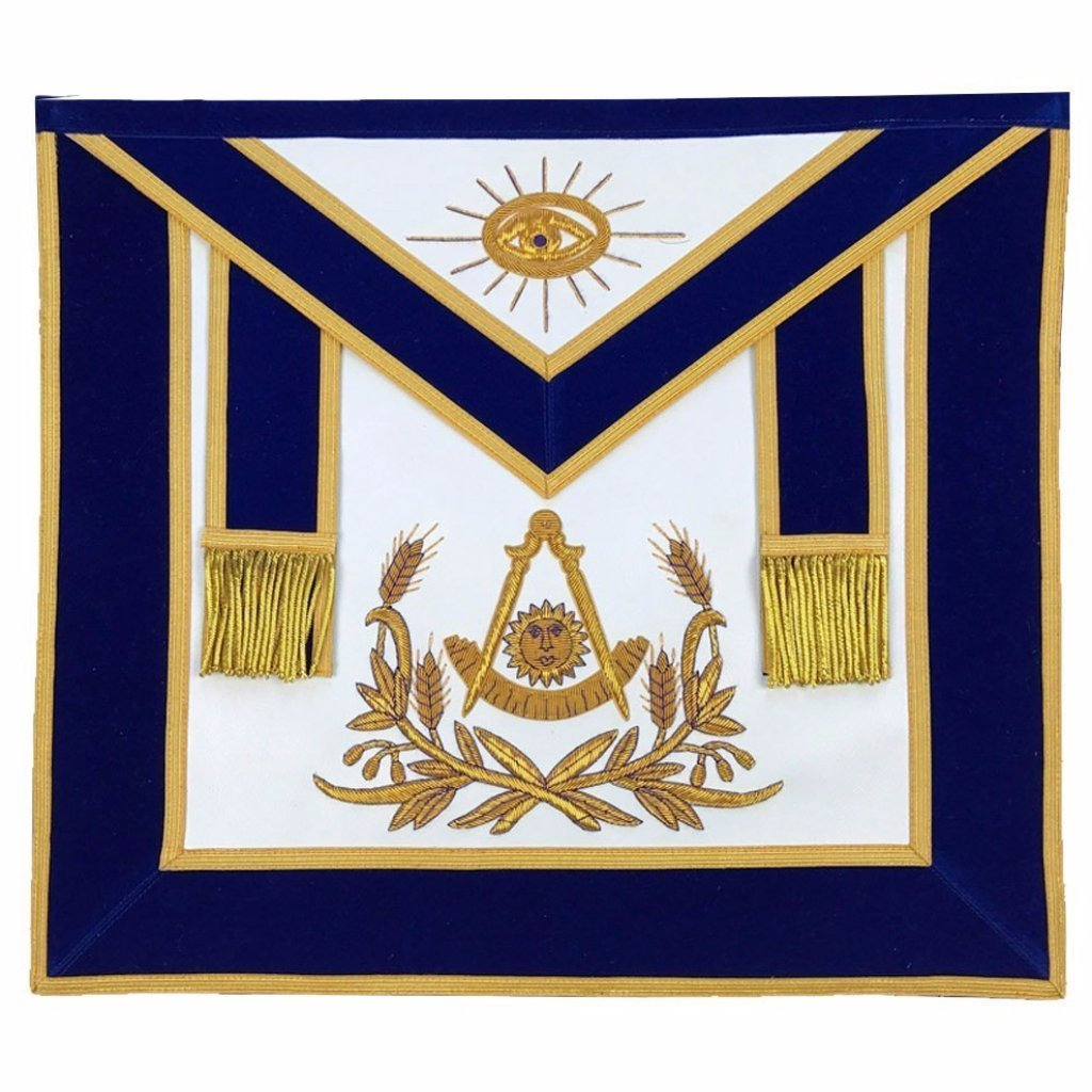 Masonic Past Master Hand Embroided Apron Gold Embroidery Blue Velvet - Bricks Masons