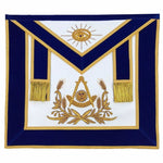 Masonic Past Master Hand Embroidered Apron Gold Embroidery Blue Velvet - Bricks Masons