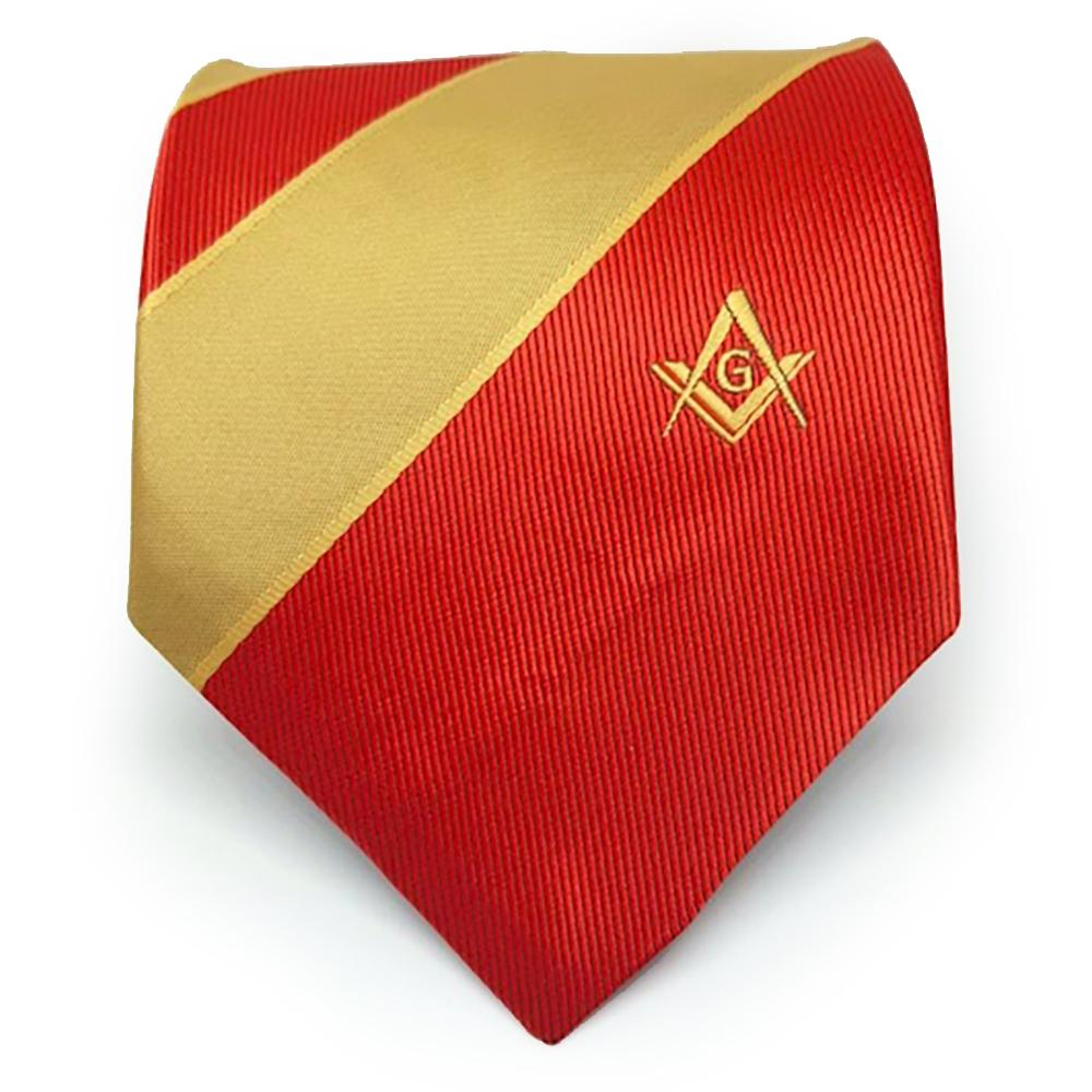 Masonic Masons Red and Yellow Tie with Square Compass & G - Bricks Masons