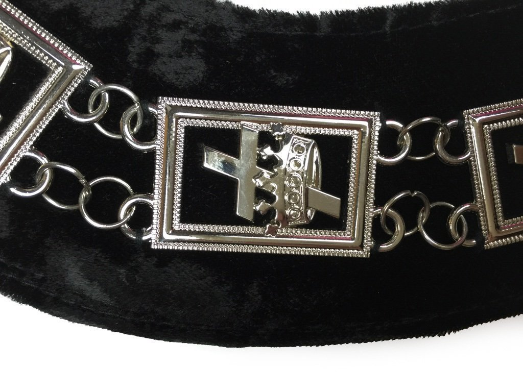 Knights Templar - Masonic Chain Collar - Gold/Silver on Black + Free Case - Bricks Masons