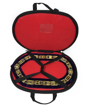 Rose Croix Regalia Chain Collar - Gold/Silver on Blue + Free Case - Bricks Masons