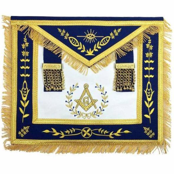 Masonic Blue Lodge Master Mason Gold Machine Embroidery Apron