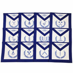 Masonic Blue Lodge Officers Machine Embroidered Apron - Set of 12 - Bricks Masons