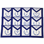 Masonic Blue Lodge Officers 12 Machine Embroided Apron Set - Bricks Masons