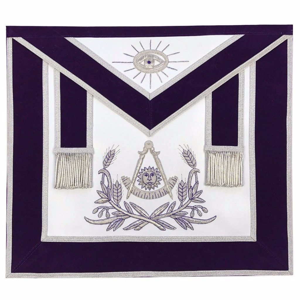 Masonic Past Master Hand Embroided Apron Silver Embroidery Purple Velvet - Bricks Masons