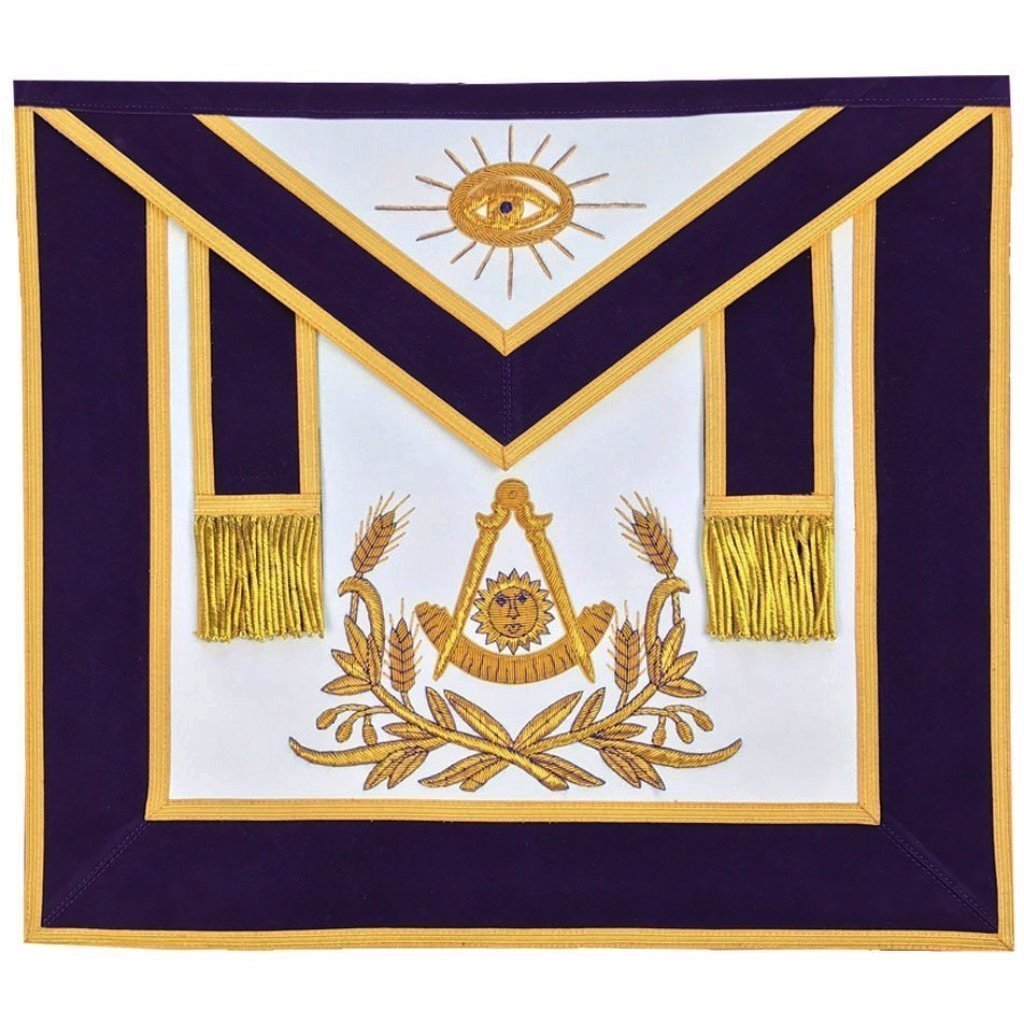Masonic Past Master Hand Embroidered Apron Gold Embroidery Purple Velvet - Bricks Masons