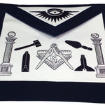 Masonic Apron - Hand Embroided Tools Navy Blue Apron - Bricks Masons