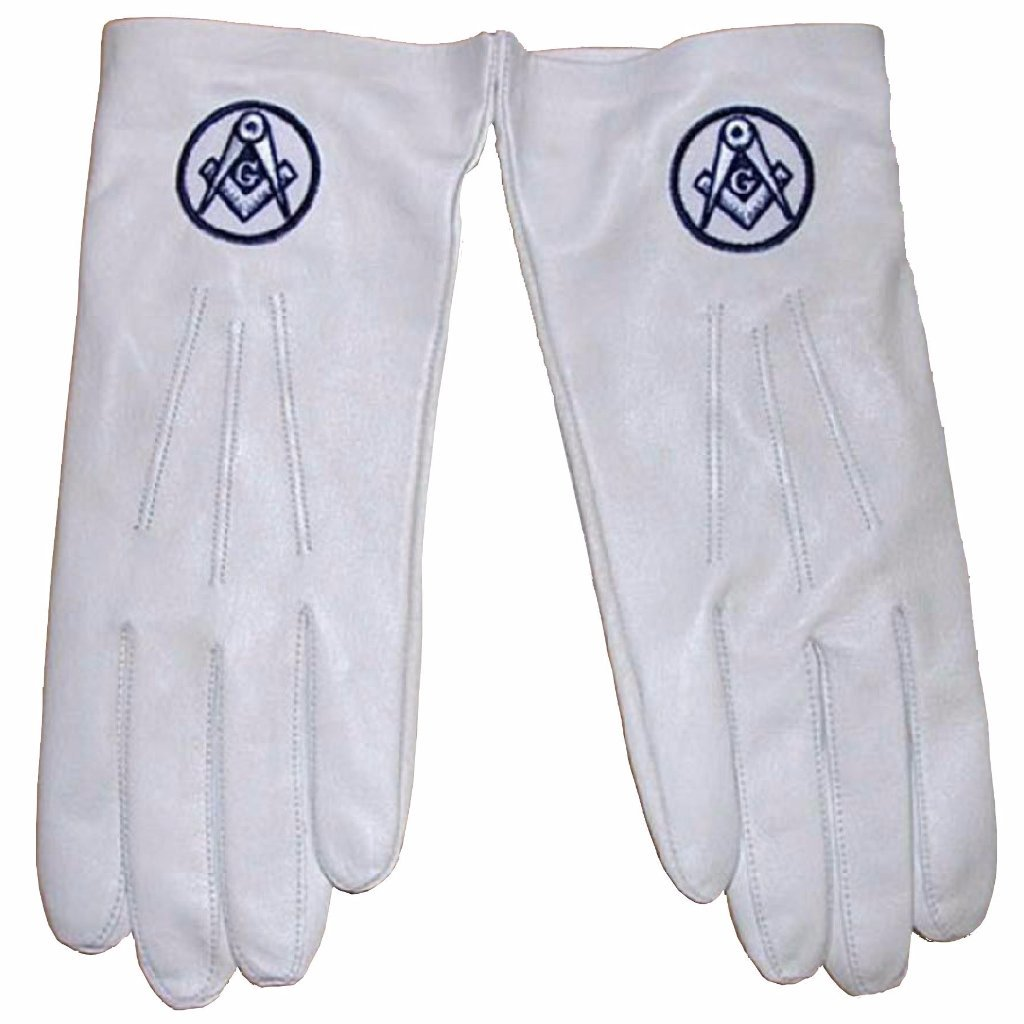Soft Leather Masonic Gloves with Square Compass Embroidery - Bricks Masons