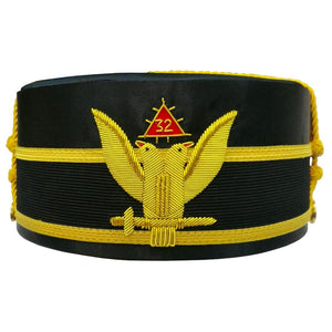 32nd Degree Wings UP Scottish Rite Double-Eagle Cap Bullion Hand Embroidery - Bricks Masons
