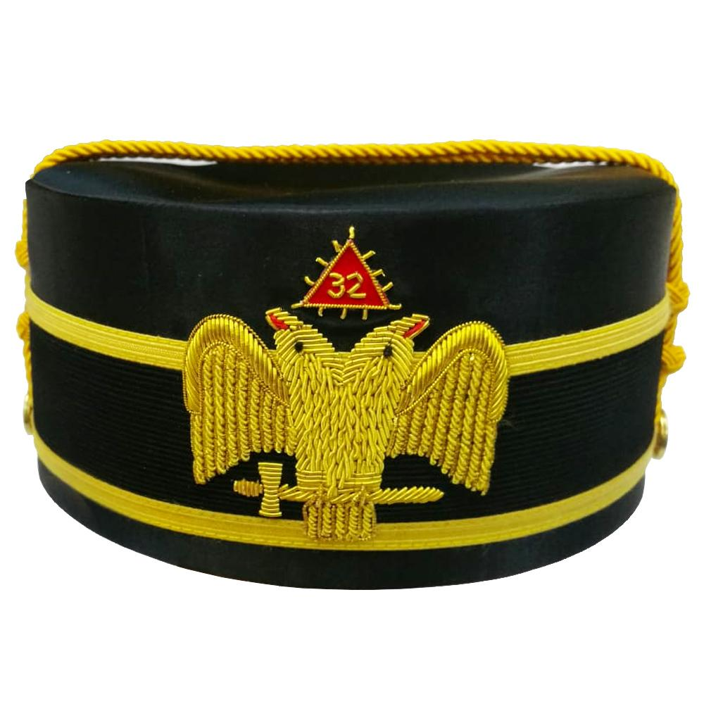 32nd Degree Scottish Rite Wings DOWN Double-Eagle Cap Bullion Hand Embroidery - Bricks Masons