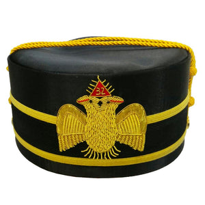32nd Degree Scottish Rite Double-Eagle Wings DOWN Cap Bullion Hand Embroidery - Bricks Masons
