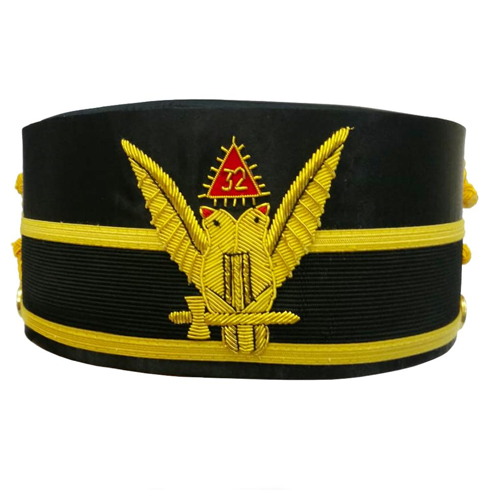 32nd Degree Scottish Rite Wings UP Double-Head Eagle Cap Bullion Hand Embroidery - Bricks Masons