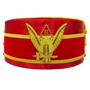 32nd Degree Scottish Rite Wings UP Red Cap Bullion Hand Embroidery - Bricks Masons