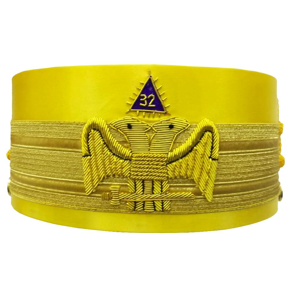 32nd Degree Wings DOWN Scottish Rite Yellow Cap Bullion Hand Embroidery - Bricks Masons