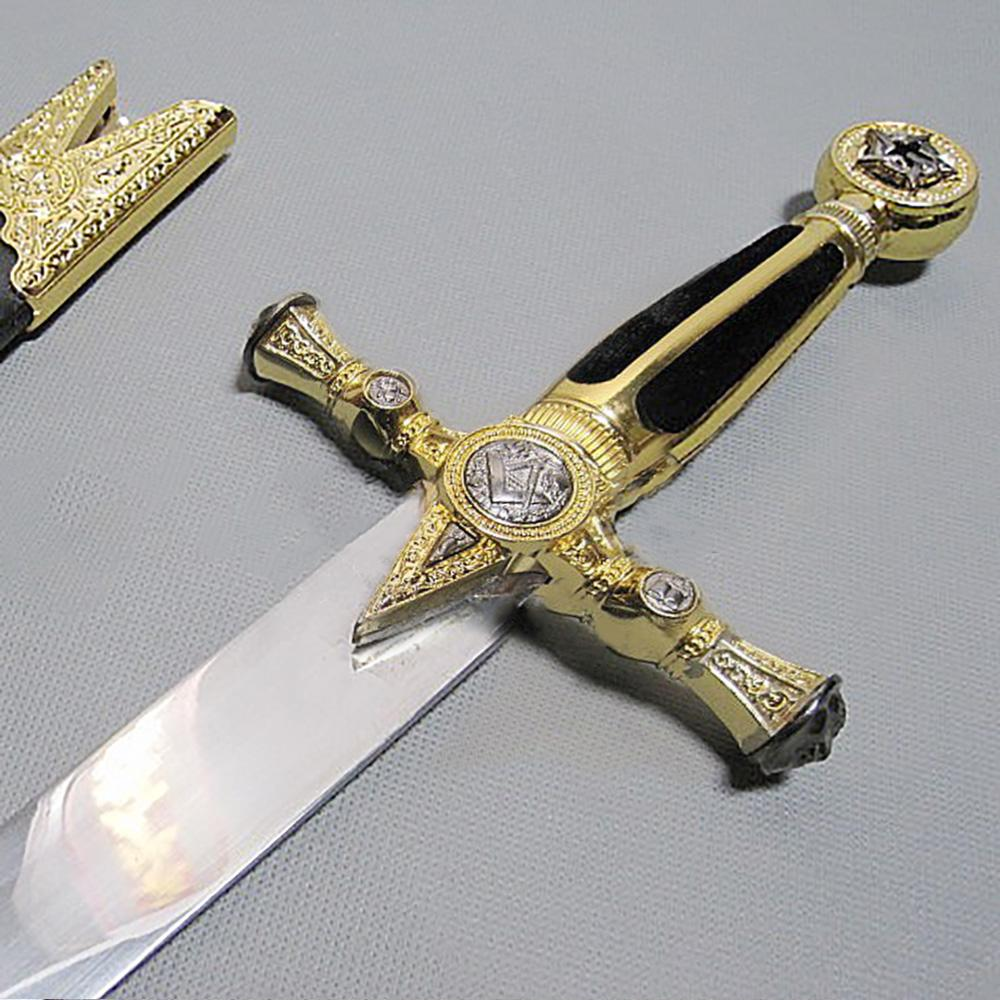"Square Compass Gold Masonic Masonic Sword Knife W/ Scabbard Gold 25.3"" - Bricks Masons"
