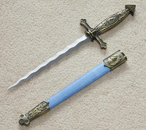 "Square Compass Masonic Sword Knife Snake Flaming Blade Blue 13.6"" - Bricks Masons"
