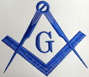 Blue Satin Master Mason Apron Square Compass & G - Bricks Masons