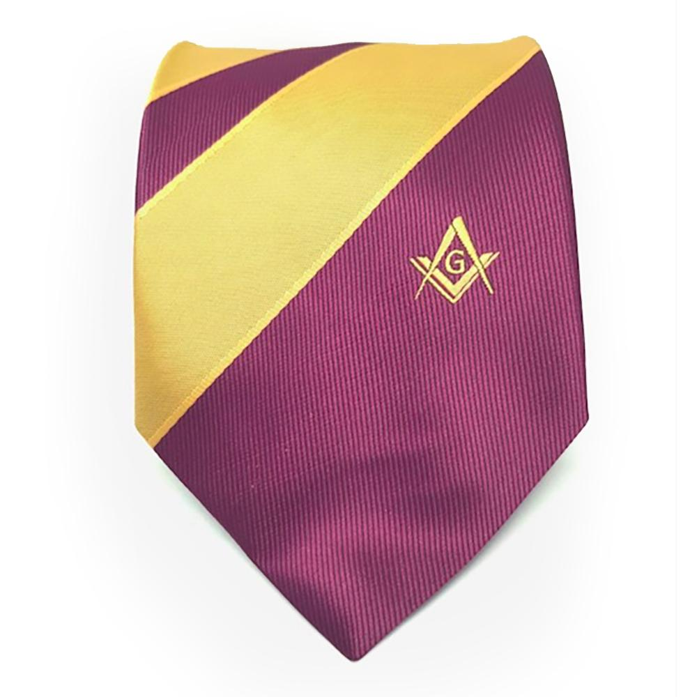 Masonic Masons Purple and Yellow Tie with Square Compass & G - Bricks Masons