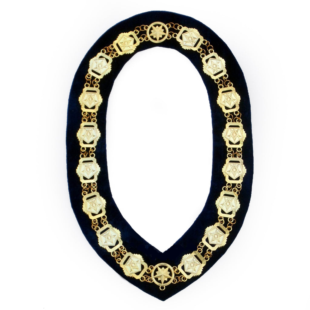 OES - Masonic Compass Square Chain Collar - Gold/Silver on Black + Free Case - Bricks Masons