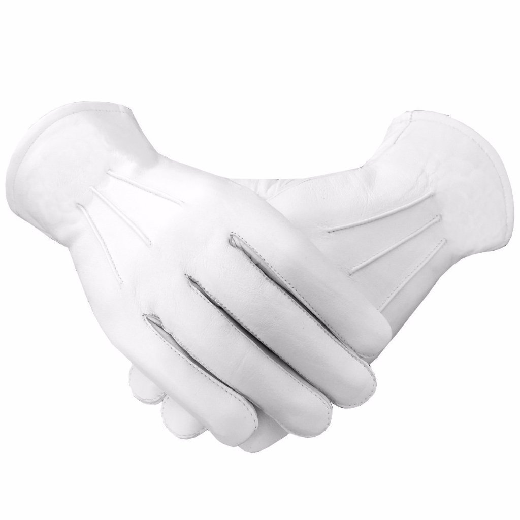 Masonic Soft Leather Gloves Plain - Bricks Masons