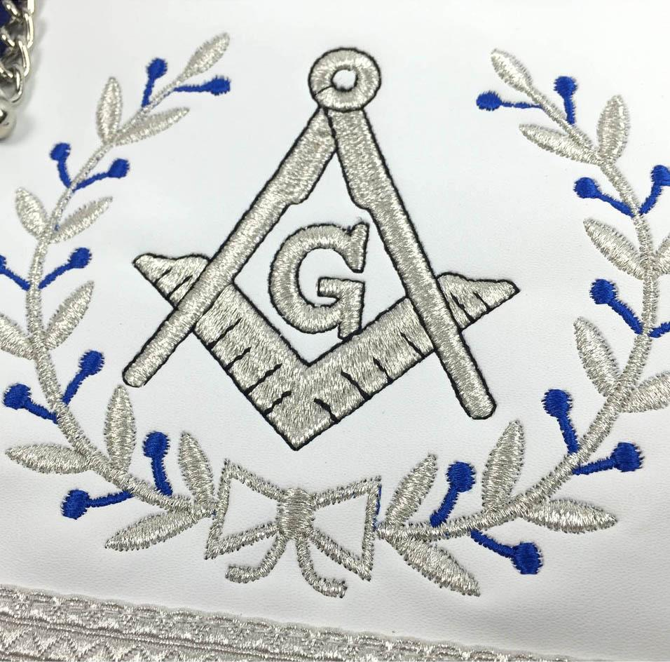 Masonic Blue Lodge Master Mason Silver Machine Embroidery Freemasons Apron - Bricks Masons