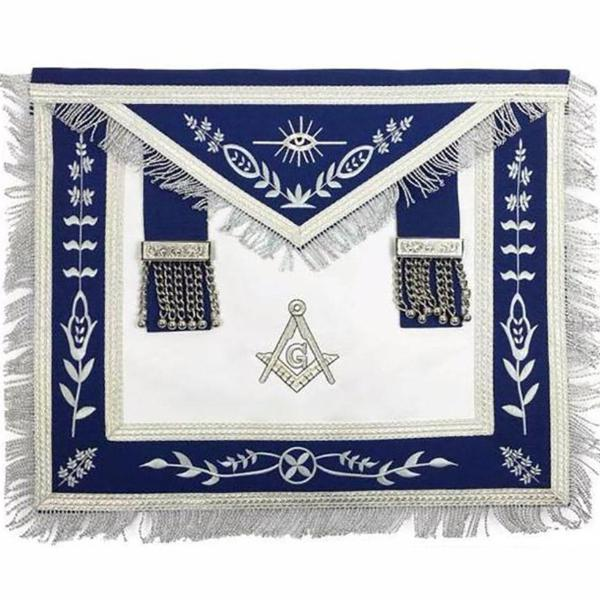 Masonic Blue Lodge G Master Mason Silver Machine Embroidery Freemasons Apron - Bricks Masons