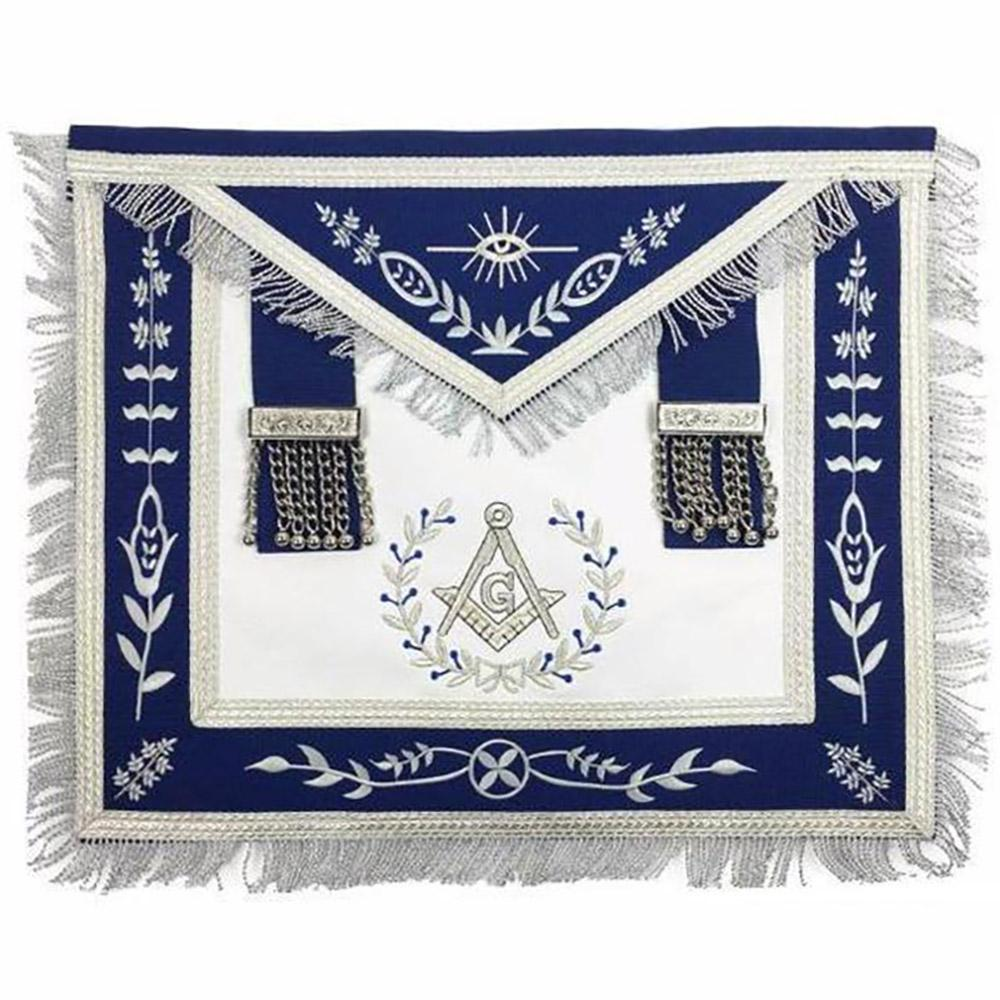 Masonic Blue Lodge Master Mason Silver Machine Embroidery Freemasons Apron