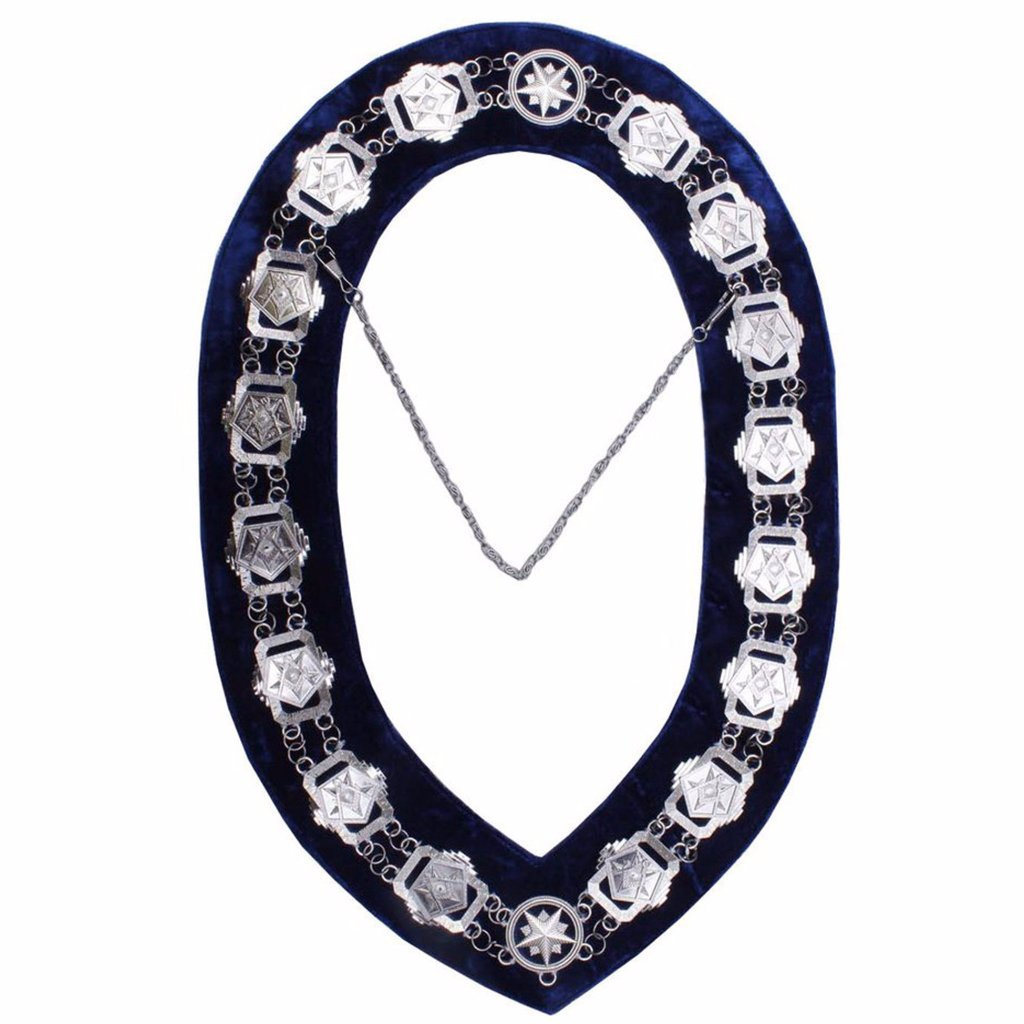 Masonic Compass Square OES Chain Collar - Gold/Silver on Blue + Free Case - Bricks Masons