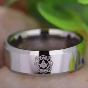 Firefighter Silver Masonic Tungsten Ring Free Engraving - Bricks Masons