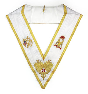 Rose Croix 33rd Degree Hand embroidered Apron Set 'WINGS DOWN' All Countries Flags - Bricks Masons